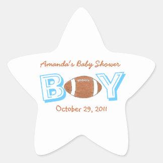 Football themed baby shower sticker -- baby boy