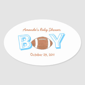 Football themed baby shower sticker -- baby boy