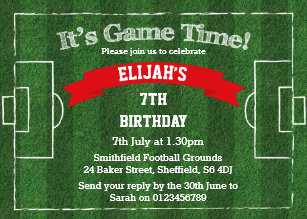 Football Themed Birthday Party Invitation