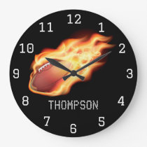 Football themed personalized add name large clock