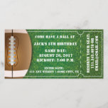 """Football Themed Ticket Invitation for Birthday<br><div class=""""desc"""">Have a ball with this ticket invite.  This invite,  designed by Aesthetic Journeys,  features a grass background with a fun football graphic.  Use the template to change the ball and to enter your personal information.  Or use the &quot;customize it&quot; button to change it up.</div>"""