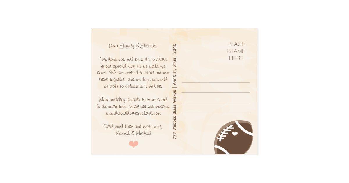 Football Themed Wedding Save the Date Postcard – Wedding Save the Date Websites