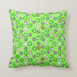 Football themed with shirts in green throw pillow