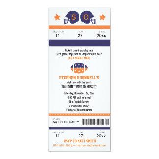 "Football Ticket Bachelor Party Invitation 4"" X 9.25"" Invitation Card"