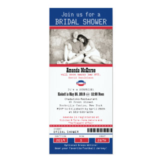 Football Ticket Blue and Red Bridal Shower Card