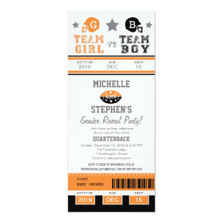 Football Ticket Gender Reveal Baby Shower 4x9.25 Paper Invitation Card