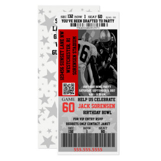 Football Ticket Sports Theme Party Invitation