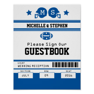 Football Ticket Wedding Guestbook Sign Poster