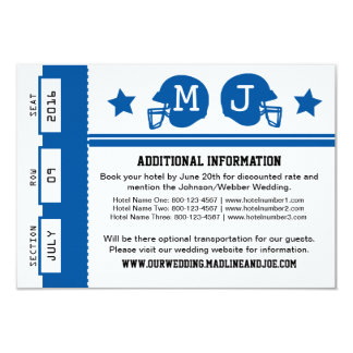 Football Ticket Wedding Information Card