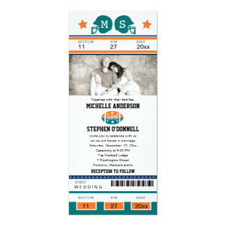 "Football Ticket Wedding Invitation 4"" X 9.25"" Invitation Card"