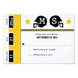 Football Ticket Wedding RSVP 3.5x5 Paper Invitation Card