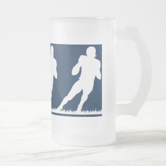 Football time frosted glass beer mug