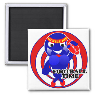 FOOTBALL TIME HUSTLE KID 2 INCH SQUARE MAGNET