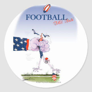 Football touch down, tony fernandes classic round sticker