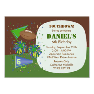 Football Touchdown Children's Birthday Party 4.5x6.25 Paper Invitation Card