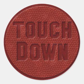 Football touchdown classic round sticker