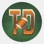 Football Touchdown TD Classic Round Sticker