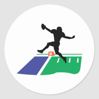 football touchdown vector graphic classic round sticker