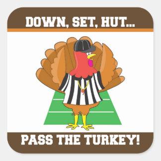 Football & Turkey Thanksgiving Sticker, Tin Label Square Sticker
