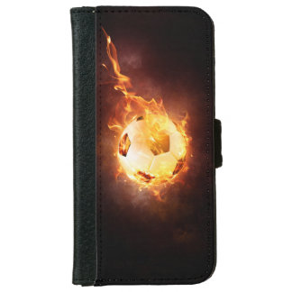 Football under Fire, Ball, Soccer Wallet Phone Case For iPhone 6/6s