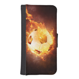 Football under Fire, Ball, Soccer Wallet Phone Case For iPhone SE/5/5s
