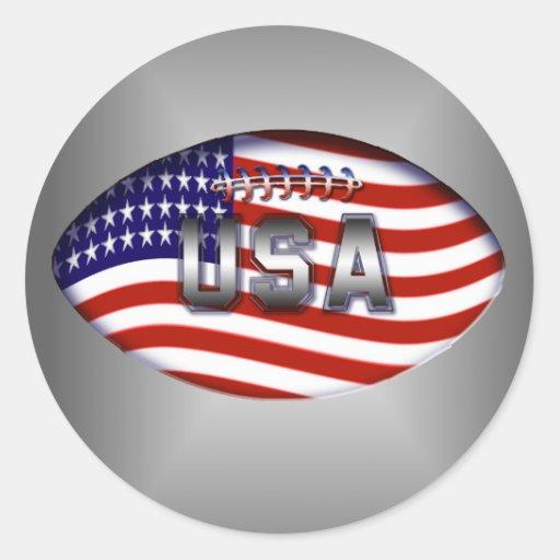 Football usa american flag classic round sticker zazzle for American classic usa