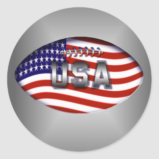 Football USA American Flag Classic Round Sticker