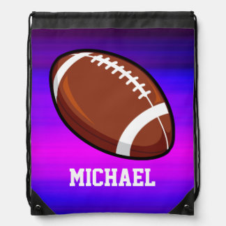 Football; Vibrant Violet Blue and Magenta Cinch Bags