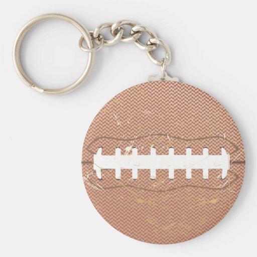 football vintage basic round button keychain