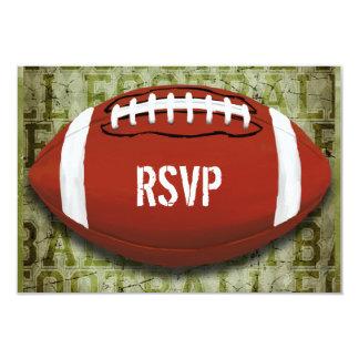 Football Vintage Green Grunge RSVP 3.5x5 Paper Invitation Card