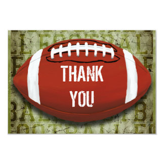 Football Vintage Green Grunge Thank You 3.5x5 Paper Invitation Card