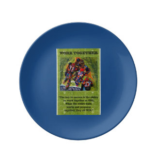 Football,WallHanger,FolkArt.Abstract Painted Plate Porcelain Plate