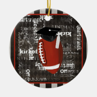Football wearing Graduation Cap, Football Words Ceramic Ornament