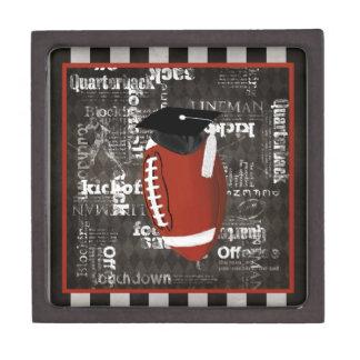 Football wearing Graduation Cap, Football Words Gift Box