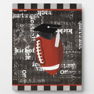Football wearing Graduation Cap, Football Words Plaque