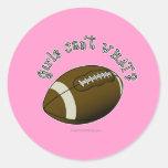 Football - White Text Classic Round Sticker