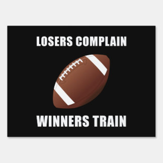 Football Winners Train Yard Sign