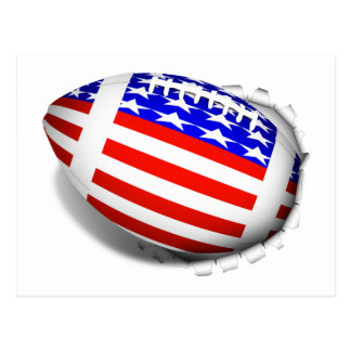 Football With American Flag Design (2) Tear-Away Postcard