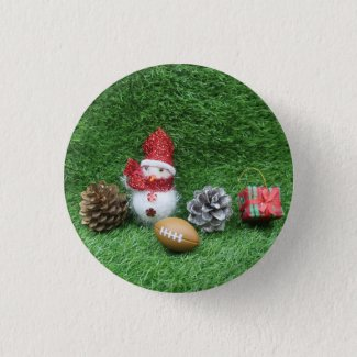 Football with Snowman for Soccer Christmas Holiday Button