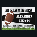 """Football Yard Sign, Custom Name/School Sign<br><div class=""""desc"""">Stake this football yard sign in your lawn to cheer on your favorite school sports football player.  Easy to customize the name online and order with no minimum. Show team spirit and root on your varsity or junior varsity team member.</div>"""