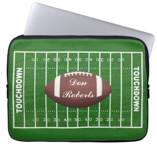 Football & Yardage Markings on a Green Grass Field Computer Sleeves