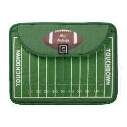Football & Yardage Markings on a Green Grass Field Sleeve For MacBook Pro