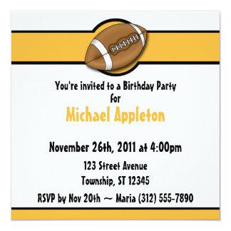 Football Yellow / Gold Birthday Invitations