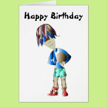 Footballer Art Birthday Greeting Card