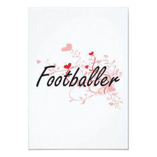 Footballer Artistic Job Design with Hearts 3.5x5 Paper Invitation Card