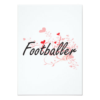 Footballer Artistic Job Design with Hearts 5x7 Paper Invitation Card