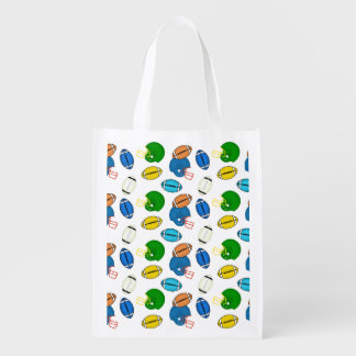 Footballs and Helmets sport theme patterns Reusable Grocery Bags