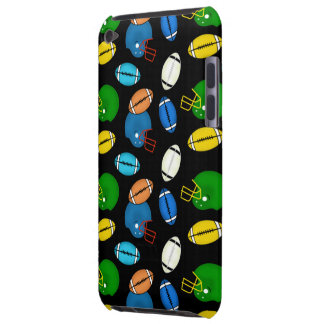 Footballs and Helmets theme black background Barely There iPod Cover