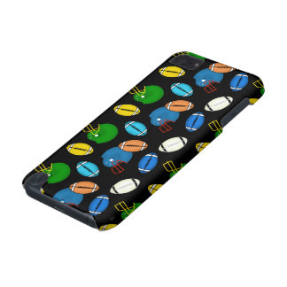 Footballs and Helmets theme black background iPod Touch (5th Generation) Case