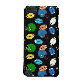 Footballs and Helmets theme black background iPod Touch (5th Generation) Cover